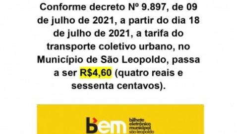 ALTERAÇÃO DE TARIFA  - R$4,60 (tarifa única)