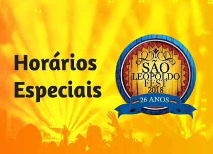 Confira aqui os horários especiais para a São Leopoldo Fest 2018